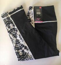 NWT Victoria's Secret VSX Sport Knockout Crop Legging Black White Tie Dye Size S