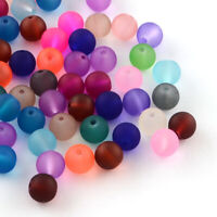 500pcs Colour Frosted Glass Beads Round Smooth Transparent Loose Beads Matte 6mm