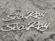 "SEA RAY SEARAY SCRIPT CHROME EMBLEM BADGE BOAT LOGO  12-3/4"" BRAND NEW - PAIR"
