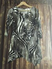 M&Co Black Brown Cream Animal Print Top Size 12 3/4 SLEEVE VGC