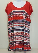 Symmetry 2X Tunic Shirt Top Blouse Red Blue White Striped Floral Americana