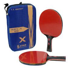 New listing Huieson 1 pair 5 Star Carbon Table Tennis Racket Set Ping Pong Paddle Bat + Bag