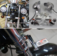 Silver Motorcycle Fog Driving Turn Signal Indicator Light w/ Fork Mount Bracket
