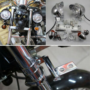 Silver Motorcycle Fog Driving Turn Signal Indicator Light w/ Fork Mount Bracket