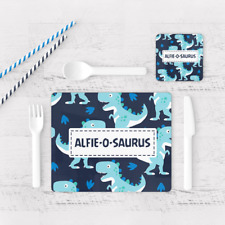 Personalised Dinosaur O Saurus Boys Kids Children's Table Placemat & Coaster