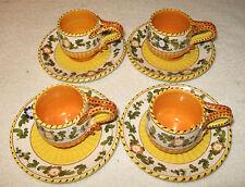 Antique/Vintage Italian China Tea Set 4 Teacups/Saucers Yellow/Orange W/Flowers