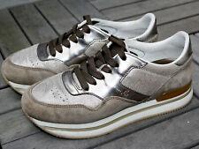 HOGAN Damen Plateau Sneaker Gr.37 Grau Silber Top Zustand