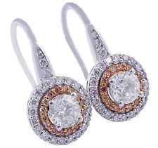 14K WHITE ROSE GOLD ROUND CUT DIAMONDS & PINK DIAMONDS EARRINGS HALO 2.10CTW