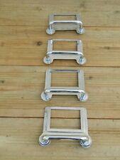 4 x Vintage Large Filing Cabinet Label Holder Pull Chrome Handles ~ Free UK Post