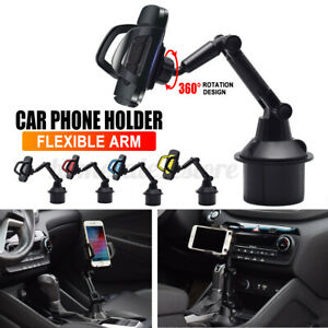 Universal Car Mount Adjustable Gooseneck Cup Holder Cradle For iphone Cell Kits