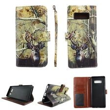 For Samsung Note 8 Camo White Tail Deer  Wallet PU Leather Flip Case Cover
