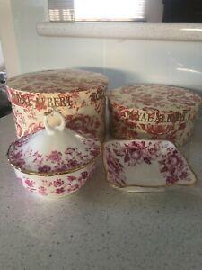 Royal Albert Pink Paradise Bone China BNIB Sugar Bowl Tray Dish Set