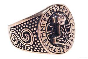 massiver Bronzering Thorshammerring Futhark Runenring aus Bronze Größe wählbar