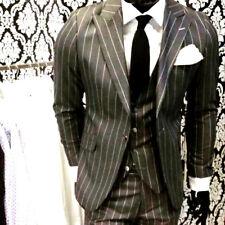 Gris Negro Diseñador Rayas Traje Set Chaleco Entallado Camisa Ajustada Corbata