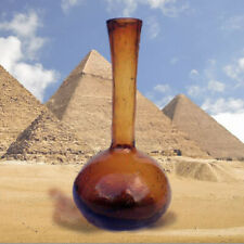 Old Egyptian Blowing Glass Brown Perfum Bottle -1900 Antique Rare HandMade