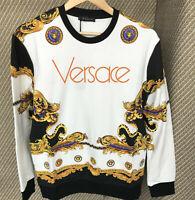 Versace Sweater Men's Sweatshirt Cardigan Italy  White Mod18  L