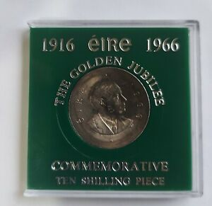 Padraig Pearse Commemorate  1966 ten  Shilling Silver Coin Beautiful toned coin