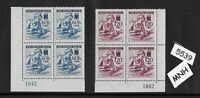 Stamp block set MNH / 1942 Germany WWII / Red Cross & Nurse with Wounded soldier