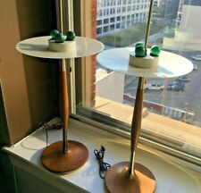 Pair MCM Gerald Thurston Lightolier Walnut & Brass Table Lamps with Diffusers