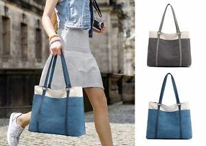 Damen Handtasche Schultertasche Canvas Casual Groß Tasche Shopper Elegant Büro