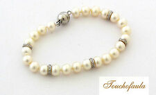 14K White Gold 8 mm Pearl Bracelet with 5 Roundels and Clasp with 0.40 cts Dia.