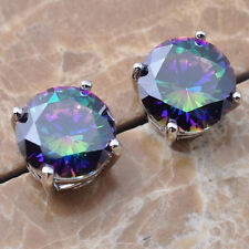 Round Rainbow Topaz Gemstone 925 Sterling Silver For Women Stud Earrings  P01530