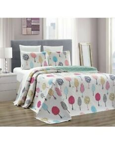3 Pc Quilted Cotton White Light Green Hearts Reversible QUEEN Coverlet Bedspread
