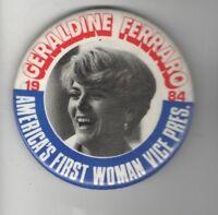 1984 Geraldine FERRARO pin Mondale Feminism pinback VICE President ALSO RAN