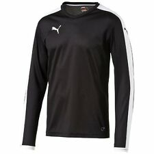 Puma Pitch Mens Sports Football Long Sleeve Jersey T Shirt Top Black White