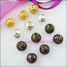 150Pcs Round Filigree Spacer Beads Charms 6mm Gold Silver Bronze Plated