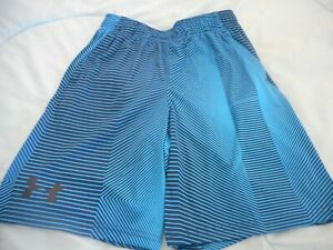 UNDER ARMOUR NWT Boy YMD 10 12 years blue and navy striped shorts pockets