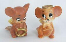 Vintage Josef Originals Angel Mouse Mice with Halos Figurine Pair Set