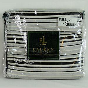 Ralph Lauren Set QUEEN WILTSHIRE Duvet, Black White Flat Sheet, Montecito Shams
