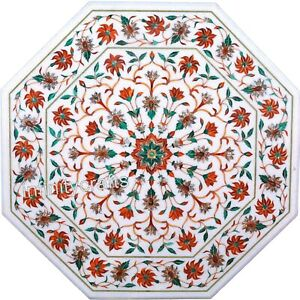 Marble Coffee Table Top with Carnelian Stone Inlay Work End Table Floral Design