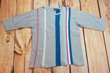 TU Size 16 3/4 Sleeved Grey Red White & Blue Striped Jumper