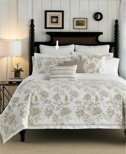 Croscill Devon Pillow Sham Shams Floral Quilted Euro Set of 2 Natural