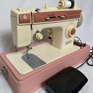 Vintage Pink Singer Merritt 2404 Sewing Machine With Foot Petal & Case - Tested
