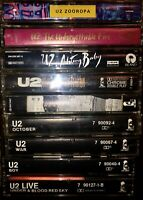 LOT OF 9 U2 CASSETTE TAPES WAR BOY OCTOBER ZOOROPA RATTLE AND HUM ACHTUNG BABY
