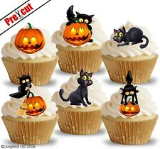 PRE-CUT CAT & PUMPKIN EDIBLE WAFER PAPER CUP CAKE TOPPERS HALLOWEEN DECORATIONS