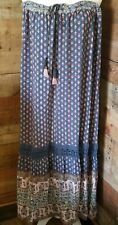 Knox Rose Skirt XXL Boho Peasant Prairie Teired Blue Floral Maxi
