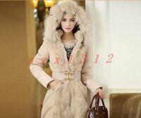 Womens Faux Fur Collar Winter Warm Jacket Thicken Outwear Parka Coat Waistband