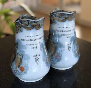 Antique Pair Jugs 2 Victorian Vases 1840s Etruscan Transferware Ceramic Retro