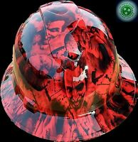 FULL BRIM Hard Hat custom hydro dipped , NEW RED SINISTER JOKER WICKED HOT NEW
