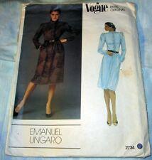 VOGUE PARIS ORIGINAL UNGARO PATTERN 2734 ~ MISSES DRESS ~ SIZE 10 *UNCUT