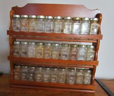 Vintage Wooden Spice Rack with 30 Jars by Crystal Food Products