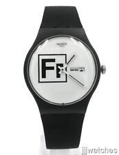 New Swatch Originals FRITZ Black Silicone Watch 41mm SUOB722 $75