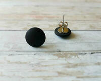 [New!] Men's Women's MATTE BLACK Stud Earrings - Hypoallergenic Titanium (7mm)