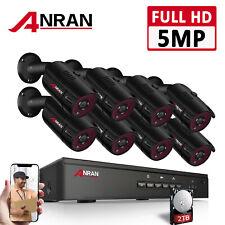 ANRAN 5MP HD 2TB Überwachungskamera Sicherheit System Freiluft 8CH NVR POE Set