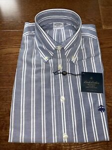 Brooks Brothers Blue + White Stripe Shirt RRP£120 Short Sleeve Button Down Small