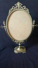 Ancien Grand socle de Miroir PSYCHE Ovale Pivotant Sur Pied En Bronze Laiton